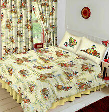 Thelwell Trophy Cartoon Horse Pony Riding Cream Double Duvet Cover Bedding Set