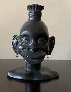 Vintage Black Porcelain Ceramic Head With Glowing Eyes And Earrings Sculpture