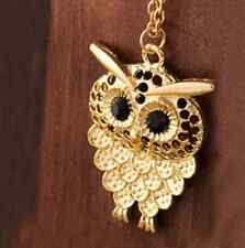 Women Vintage GOLD RETRO Owl Pendant Long Sweater Chain Necklace Jewelry Gift
