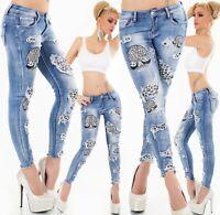 ORIGINAL Jeans Hose Röhrenjeans Skinny Stickerei Strass Leo Risse Stretch XS-XL