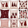 Festive Christmas Xmas Cotton Linen Cushion Cover Throw Pillow Case Home Decor