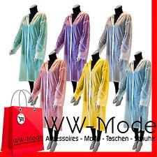 Neu! Damen Regenmantel Regenjacke Transparent  Kapuze und Knöpfen Regenschutz!