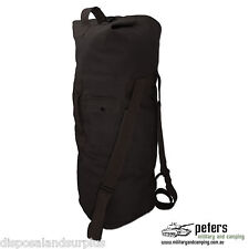 Duffle Bag With Shoulder Straps Cotton Canvas Material Black