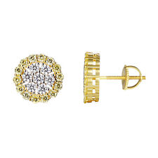 14k Gold Finish Earrings Canary Simulated Diamond 925 Silver Screw Back Studs