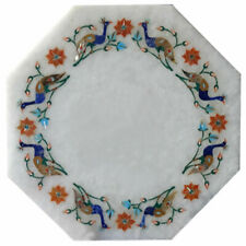 "18"" White Marble Table Top Inlay Work Home And Garden Decor"