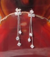 Ohrstecker Ohrring Kettchen mit weißen Zirkonia 6 cm lang Sterling Silber 925