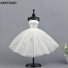 White Short Dress For Barbie Doll Clothes Evening Dress 1/6 Doll Accessories