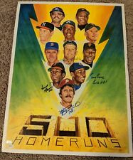 """MICKEY MANTLE, ERNIE BANKS, INSCRIBED autographed signed 18""""x24"""" JSA 500 HR CLUB"""