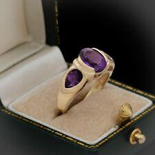 Antique Vintage Deco Retro Style 14k Gold BENHAM Siberian Amethyst Ring Sz 6.75