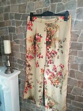 Per una Gold Mix Oriental Print Capri Satin Trousers UK 14