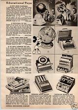 1955 Paper Ad Spitz Junior Planetarium Sky Zoo Disney Globe Simplex Typewriter