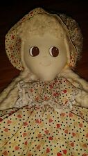DOLL MADE OUT OF  MOP HEAD STRINGS LONG HAIR WHITE DRESS CUTE