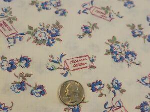 FULL Vintage feedsack: opened,  Little Blue Flowers and Burgundy Notes