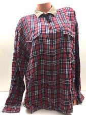 Vintage Tommy Hilfiger Men's Shirt Full Zip Jacket Plaid Lumber Jack Flag Red L