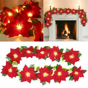 LED Christmas Poinsettia Fairy String lights Flower Garland Christmas Decoration