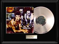 DAVID BOWIE DIAMOND DOGS  ALBUM FRAMED LP WHITE GOLD SILVER PLATINUM TONE RECORD