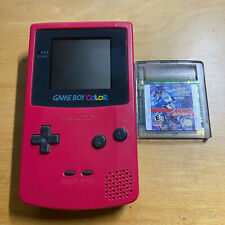 Nintendo Gameboy Color Fuschia Red Pink Console + Game