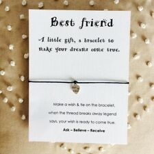Best Friend Wish String Charm Bracelet Friendship Gift Heart Charm WC14
