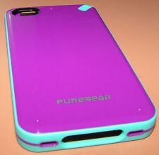 Puregear Slim Shell case iPhone 4/4s, Gloss Dark Magenta, Teal Rubber