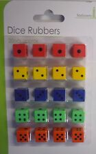 Pack Of 20 Colourful Dice Rubbers (Erasers). Great Party Bag Fillers