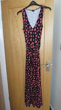 HOBBS STUNNING LADIES MAXI DRESS SIZE 14 BLACK WITH RED/WHITE PRINT CRUISE