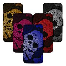 Aztec Skulls Paisley Art - Flip Phone Case Wallet Cover Fits Iphone 5 6 7 8 X 11