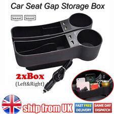 2pcs Car Seat Gap Organiser Storage Box Wallet Phone Cup Holder USB Charger