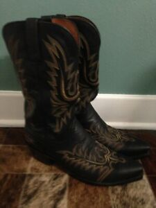 Lucchese 1883 Mens boots Black stitched calf leather deertan size 10.5