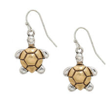 Two Tone Sea Turtle Fashionable Earrings - Fish Hook - Silver & Gold Plated
