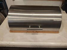 """Royal Household Stainless Steel Bread Box Interior Bamboo Wood 15"""" X 11"""" X 6"""""""