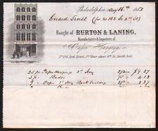 1853 Burton & Laning - Wall Paper Hangings - Philadelphia Pa RARE Letter Head