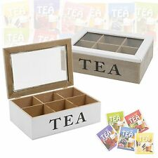 6 Section Wooden Tea Box Glass Hinged Lid Kitchen Storage Tea Bag Home White NEW