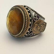 Lucky BRAND Buddha Big Hammered Ring Citrine LOOK Quartz Center Stone Size 7