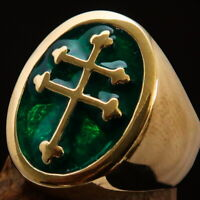 OVAL SHAPED MENS BRASS CROSS LORRAINE PINKY RING CHRISTIAN SYMBOL GREEN SIZE 8