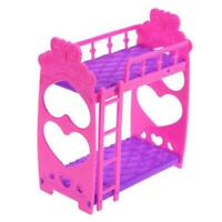 Beautiful Plastic Bunk Bed Bedroom Furniture Bed Set For Dolls Dollhouse C5Q0