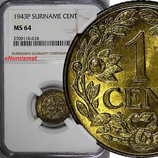 Suriname Netherlands Brass 1943-P Palm 1 Cent NGC MS64 KM# 10