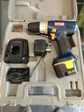 RYOBI 12v CORDLESS DRILL CHD-1201 WITH CARRY CASE AND CHARGER.