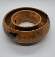 Vintage Mid Century Pottery Posy Ring Style Vase Planter Earth Tones Studio Art