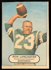 1968 OPC POSTER INSERTS CFL FOOTBALL RON LANCASTER SASKATCHEWAN ROUGHRIDERS
