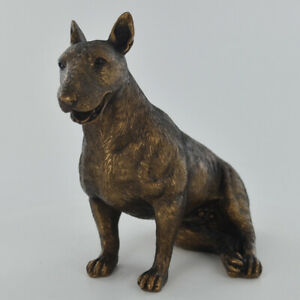 English Bull Terrier Figurine Statue Sculpture Dog Bronzed Ornament NEW IN