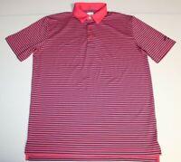 Mens Callaway Opti-Dri Short Sleeve SS Golf Polo Shirt Medium Pink Blue Striped