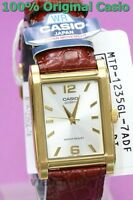 MTP-1235GL-7A Gold Casio Men's Watch Genuine Brown Leather Band Brand-New