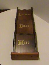 Vintage Wood Letter Mail Bill Misc Rack Holder Wall Hanger Country