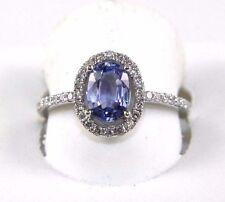 Fine Oval Cut Blue Sapphire Solitaire Ring w/Diamond Halo 14k White Gold 1.70Ct