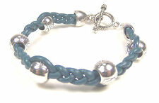 Silver Plated Beads Blue Leather Bracelet With