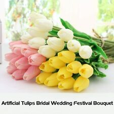 10 Head Artificial Real Touch Tulips Bridal Home Wedding Party Festival Decor US
