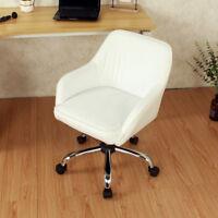 Mid Back Desk Task Office Chair Padded Seat Lumbar Support Velvet Fabric, White