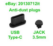 Juego Cubierta Anti-Polvo Enchufe USB Tipo C + Jack 3.5 mm Negro Puerto Hembra A Elección