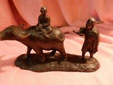 VINTAGE CHINESE BRONZE BOY ON OX WITH FARMER FOLLOWING