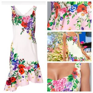 Ladies White Mix Dress Size XL VENUS Stretchy Floral Ruffle Trim Jewelled NEW 🌹
